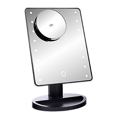 S/O® LED Schminkspiegel SCHWARZ mit 10-fach Vergrößerung Schminkspiegel mit LED Make up Spiegel mit Beleuchtung Standspiegel Kosmetikspiegel Badezimmerspiegel Rasierspiegel Kosmetik Spiegel