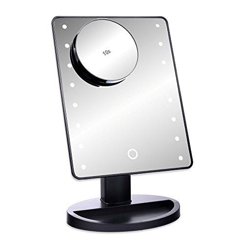 Schramm® Espejo de Maquillaje LED Negro con 10 aumentos Espejo de Maquillaje LED con iluminación