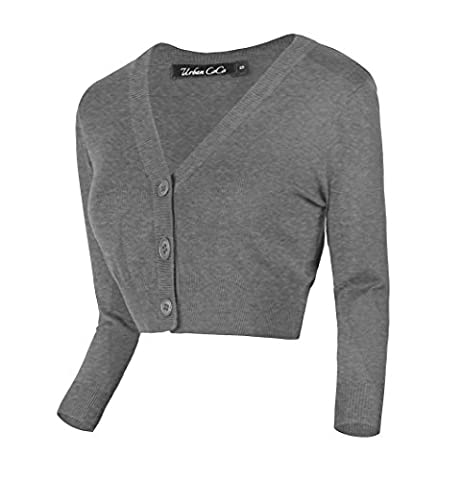 Women's Cropped Cardigan V-neck Button Down Knitted Sweater (M, Heather Gray)