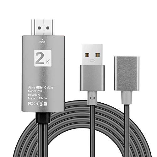 WOB USB auf HDMI,2K 1080P HD-Auflösungen HDTV TV AV Adapterkabel Kabel für iPhone XS/XS MAX/XR (Schwarz) Directv Hdtv