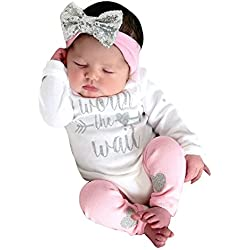 LANSKIRT Ropa para Recién Nacido Infantil bebé niñas Conjunto de Ropa de Trajes De Manga Larga Volantes Letras Impresas Tops + Pantalones + Banda de Pelo Invierno 3PCS (Blanco, 0-6 Mes)