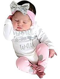 Modaworld _Ropa de bebé Niña, Recién Nacido bebés niñas Carta Mameluco Monos y Polainas 3pcs Conjuntos