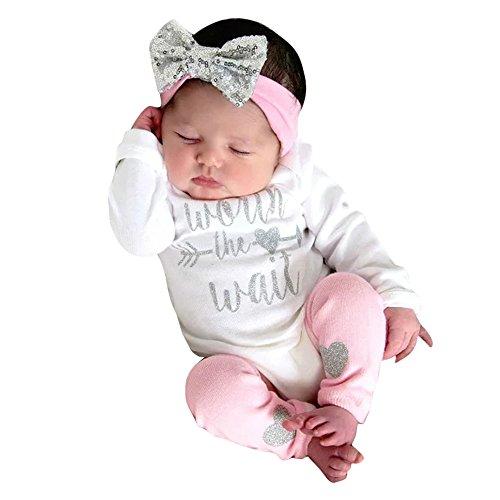 2019 Toddler Bambini Piccoli Ragazze T-Shirt Stampa Lettera Tuta con Maglietta con Motivo Pagliaccetto + Leggings Warner + Pantaloncini con Fascia Hari 3 pz Abiti con Set (0-6 Mesi, Biance)