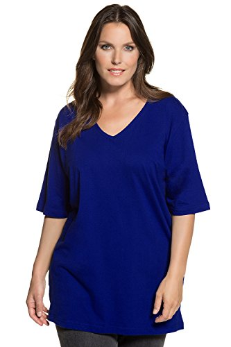 Ulla Popken Große Größen Damen T-Shirt, V-Ausschnitt Royalblau
