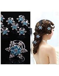5 spirales à cheveux coiffure mariage - Etoile flocon bleu - bijoux de cheveux crystal