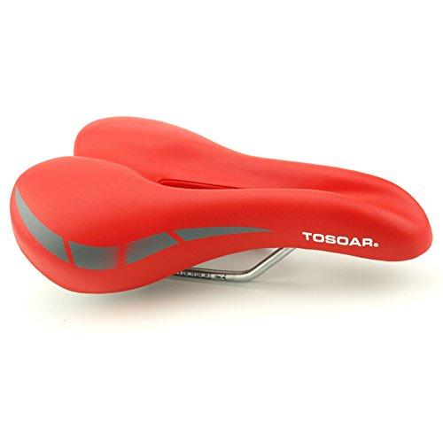 Fahrradsattel MTB TOSOAR® Fahrradsitz Gel Mountainbike Sattel City Tourensattel Trekking Rennrad Sattel Bequem und weich 27x17cm (rot)