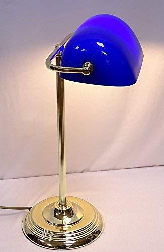 Élégant Art Déco Banquier Lampe, Bankerslampe, en Laiton, Bleu Abat-Jour en Verre