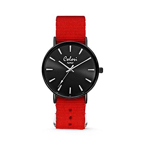 Colori Unisexuhr Analog Quarz - XOXO - Textilband - Set aus Quarzuhr und Edelstahl-Armreif - Frauen Xoxo Watchs