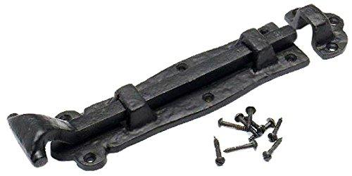 Bulk Hardware BH02027 Gerader Schubriegel 200 mm, Antik-schwarz, Weiß,