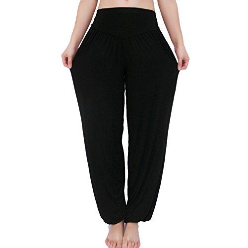 MEISHINE® Damen Modal Elastisch Haremshose Pluderhose Pumphose Ideal für Sport Yoga Tanz Jogging Dance (Size XXXL, Schwarz)