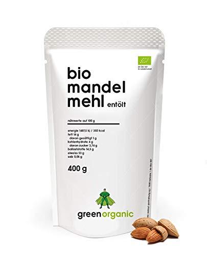 BIO PREMIUM MANDELMEHL - weiß, lower-Carb, glutenfrei, vegan, entölt, proteinreich, ballaststoffreich, Paleo Superfood, nachhaltig und fair angebaut, 400g