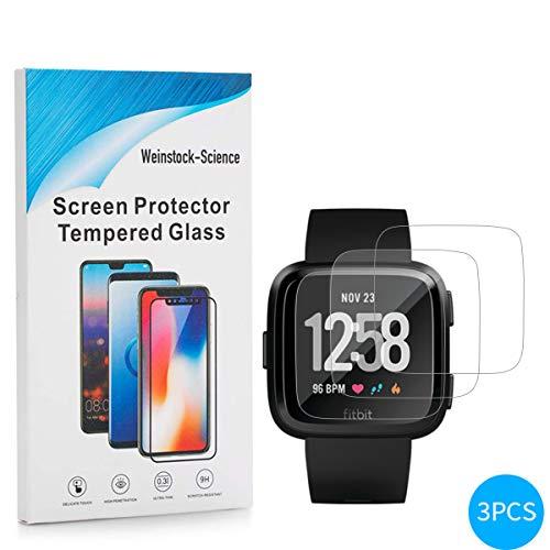 Weinstock-Science | 3X bruchsicheres Schutzglas für Fitbit Versa Health| Schutzfolie aus 9H Echt Glas
