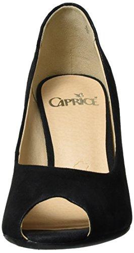 Caprice 29300, Escarpins Bout Ouvert Femme Noir (Black Suede)