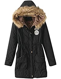 Molly elegante mujer invierno thicken Forro Polar pelo sintético cálido abrigo