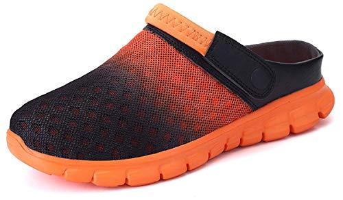 Unisex Clogs Hausschuhe Muffin Unten Alltägliche Drag Pantolette Sommer Beach Schuhe Sandalen für Damen Herren, Schwarz Orange, 42 EU Weit -