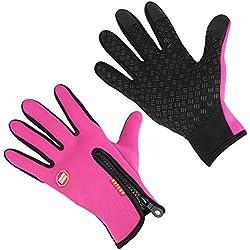 Aruny Winter Handschuhe Winddicht Thermische Für Männer Frauen Ideal für Sport Im Freien Laufen, Radfahren, Wandern, Fahren, Klettern Touchscreen Multifunktionale Handschuhe (Rosa, M)