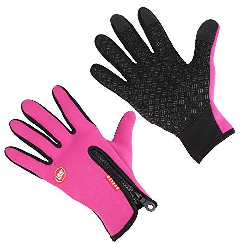 Aruny Winter Handschuhe Winddicht Thermische Für Männer Frauen Ideal für Sport Im Freien Laufen, Radfahren, Wandern, Fahren, Klettern Touchscreen Multifunktionale Handschuhe (Rosa, L)