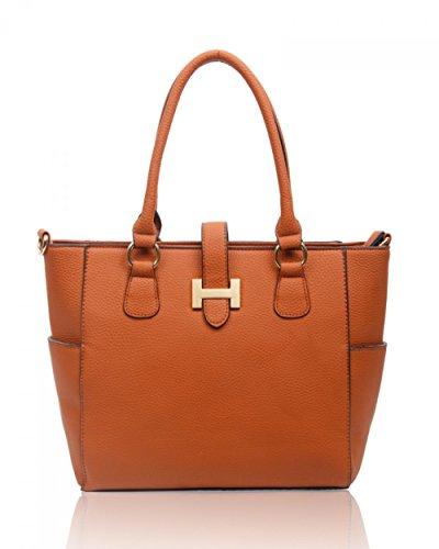 LeahWard® Damen Mode Tragetaschen KleinMittel Groß Berühmtheit Stil Schultertasche Handtasche 14004 BROWN SHOULDER BAG