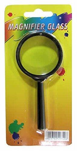 TSI Lupe, Vergrößerungsglas, Kunststoffrahmen, 45mm im Ø, Griff 60mm lang, Farbe schwarz, echtes Glas (1)