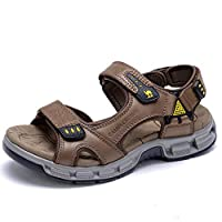 CAMEL Men's Leather Trendy Summer Beach Shoes Outdoor Sport Hiking Sandals Non-Slip (Red-Brown, 8)