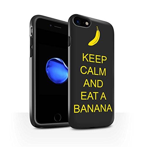 STUFF4 Glanz Harten Stoßfest Hülle / Case für Apple iPhone 8 / Einkaufen Gehen/Braun Muster / Bleib Ruhig Kollektion Essen eine Banane/Jaune