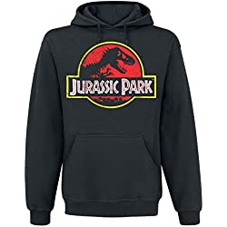 Jurassic Park Distressed Logo Sudadera con capucha Negro 4XL