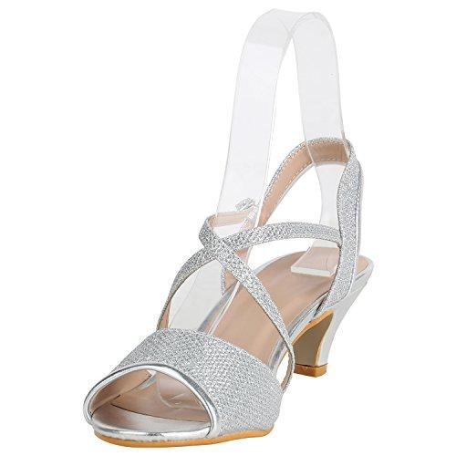 Stiefelparadies Damen Schuhe Riemchensandaletten Lack Glitzer Sandaletten Party 157231 Silber Glitzer 38 Flandell - 2