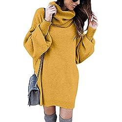 Minetom Pull Robe Courte Femme Hiver Manche Longue Casual Mini Dress Col Roulé Tricot Chandails Blouse Elégant Oversize Lâche Pullover Jaune FR 44