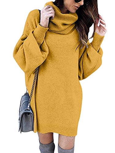 Minetom Pull Robe Courte Femme Hiver Manche Longue Casual Mini Dress Col Roulé Tricot Chandails Blouse Elégant Oversize Lâche Pullover Jaune FR 38