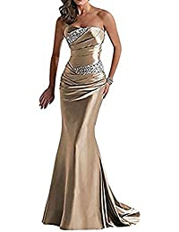 Vickyben - Vestido de noche de mujer largo palabra de honor, corte sirena