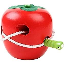 MoGist Jouet éducatif pour Enfant Pomme Rouge Jeu de Fils en Bois Intelligent Jouet Motard pour Motard des Petits Enfants