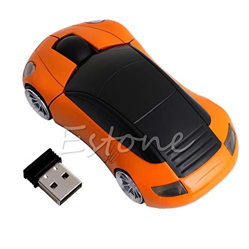 Exing Funkmaus 2.4G 1600DPI Optische Maus in Autoform mit USB-Empfänger Orange