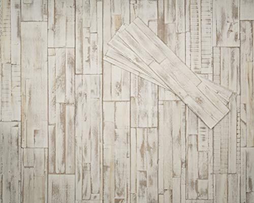 DIY Wandpaneele selbstklebend aus Echtholz von Mywoodwall - Brushed Coral (weiß) - Schöne 3D Wandverkleidung - 100{ac61e6b3c9822f867faa8276ccea6c85b45886b7624740dcb67e1f23509a14ef} FSC-zertifiziert und Umweltfreundlich, 1 Paket a 0,98 m²