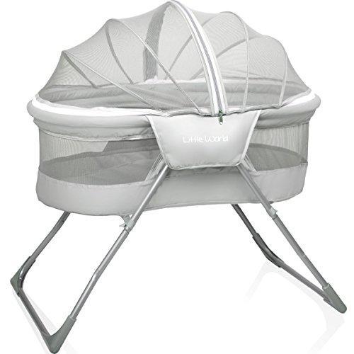 Baby Reisebett/Babybett (Inklusive: Matratze/Moskitohaube/Transporttasche) (GRAU)