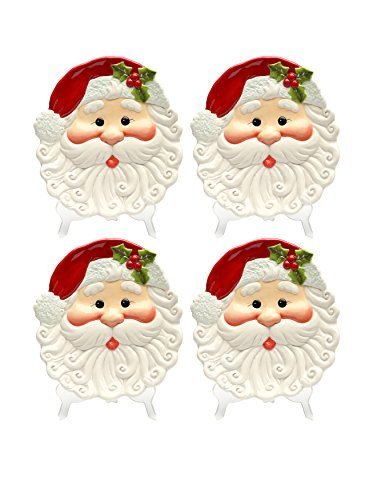 Cosmos Gifts 10635 Santa Plate, 8-3/8 by 7-3/4 by 1-1/4-Inch, Set of 4 by Cosmos Gifts - 8.375