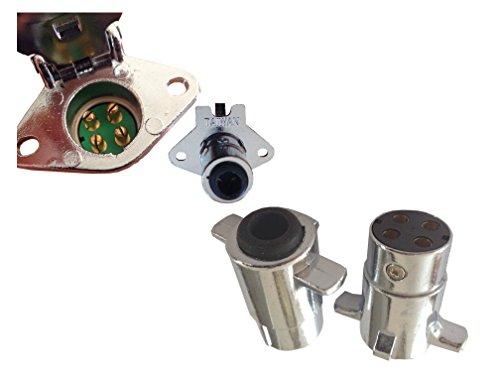 Stecker und Buchse Set für Steck-Verbindung 4polig Wohnwagen 12V bis 24V