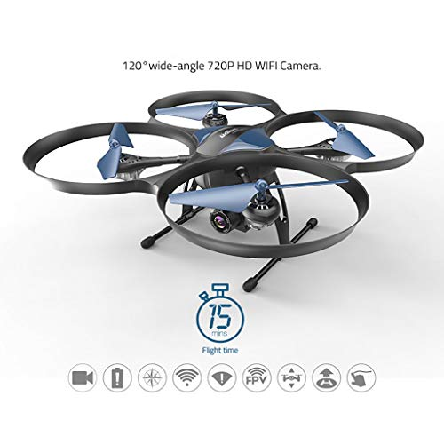Sunnywill UDI U818A Plus 2.4Ghz WiFi FPV Drone with 120 Degree Wide Angle HD Camera Drone con Fotocamera grandangolare HD da 120 Gradi Drone Nero, Blu