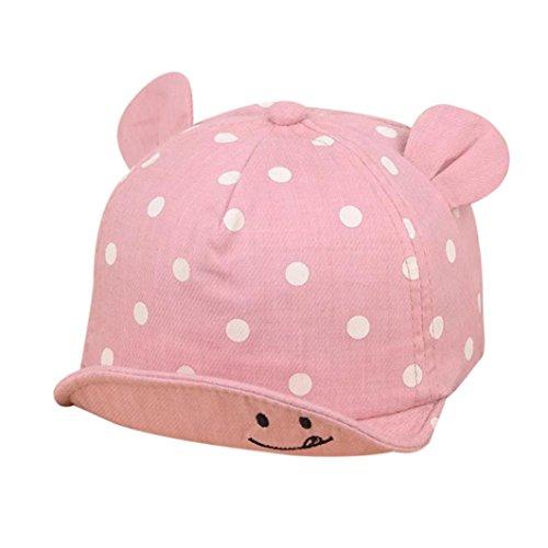Evansamp Sun Hat für Baby Mädchen Jungen, Infant Kinder niedliche Ohr Hat Smiling Face Polka Dot Baseball Cap Mützen, Kinder, rose, 0 to 3 years old