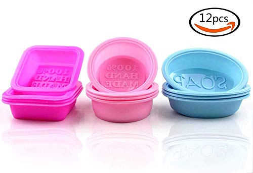 12 Pcs Square Round Oval Soap Moulds - 100% Handmade Square Soap Molds Silicone