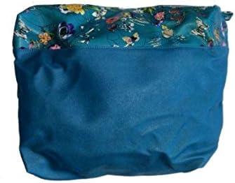 Vento® Interior de bolso azul con flores con cremallera compatible con Obag