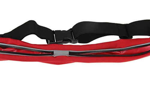 Gürteltasche Bauchtasche wasserdicht elastisch Nylon Laufgürtel Lauftasche Hüfttaschen mit 2 Tasche geeignet für Joggen Radfahren Wandern Laufen und andere Outdoor Aktivitäten Rot