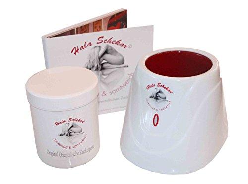 SET: Haarentfernung, Enthaarung mit Hala Schekar Orientalischer Zuckerpaste - Starter-Set: Dose Zuckerpaste 400g, Wärmegerät und Anwender-DVD