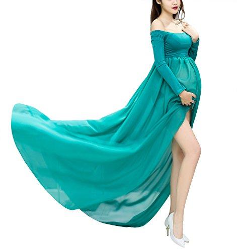 HAPPY CHERRY Sexy Schwangerschafts Fotografie Requisiten Frauen Lange Chiffon Kleider Mutterschaft Fotoshooting Kleidung Maxikleid, Türkis