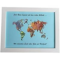 Geldgeschenk mit Ihrem/meinem Text auf der Weltkarte im Bilderrahmen