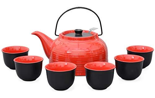 """Aricola Teeservice \""""Nelly\"""". Moderne Teekanne 1,5 Liter in rot/schwarz aus hitzebeständiger Keramik mit Edelstahlfilter und 6 Teecups 120ml in rot/schwarz."""