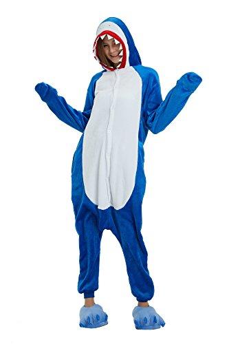 a Cartoon Tiere Pyjama Cosplay Kostüme Flanell Jumpsuits Unisex Erwachsene Kinder Nachtwäsche Party Kostüme (Shark, S) ()