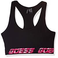 GUESS Women's Bralette Tops, Black (Jet Black/Frost G A996), Medium