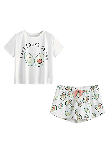 DIDK Damen Übergroß Pyjama Set mit Avocadomuster und Kordelzug ,Muster 1 - S