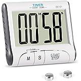 Minuteur de Cuisine, YXwin Minuterie de Cuisine Electronique Magnétique Digital 24H Minuteur Numérique avec Alarme Sonore LCD Écran Compte à Rebours Support Aimanté - Blanc