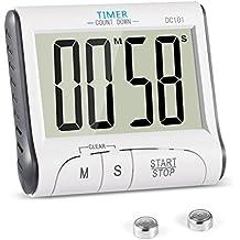 Reloj Temporizador YXwin Temporizador Digital de Cocina con Cuenta Atrás, Soporte Extraíble y Pantalla LCD Grande